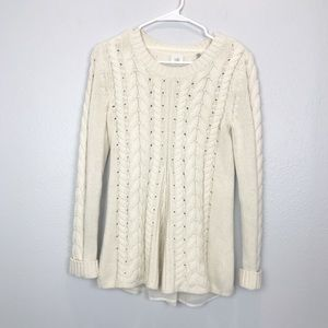 CABI Cable Knit Creme Sweater #3157
